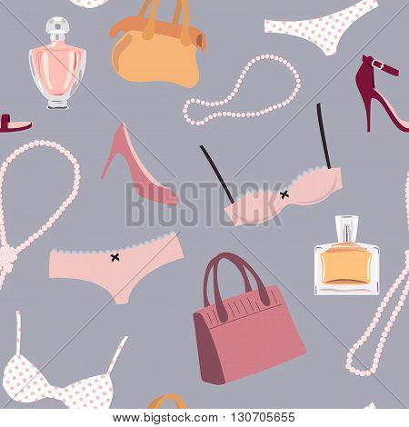 Seamless pattern woman accessory. Shoes perfume lingerie pearl necklace bags.