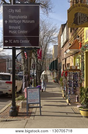 Brevard North Carolina USA - December 11 2015: Downtown street scene in the small town of Brevard North Carolina in winter on December 11 2015 in downtown Brevard NC