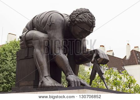 London England - May 19 2016: Sculpture of Isaac Newton by Eduardo Paolozzi in the British Library in London England.