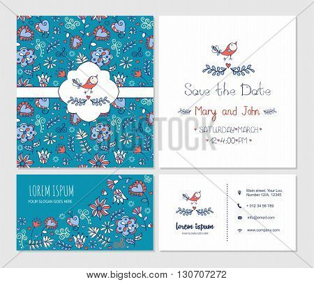 Visiting Card Or Business Card Set With Cute Hand Drawn Floral Pattern And Bird Logo. Best For Corpo