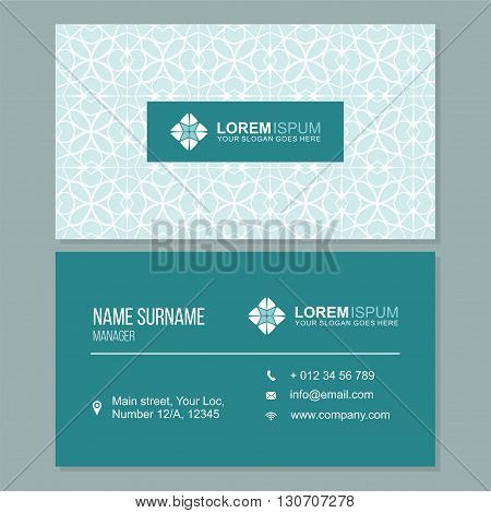 Visiting Card, Business Card With Abstract Pattern. Vector Corporate Identity Template With Simple L