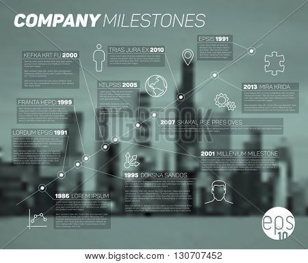Vector Infographic diagonal timeline report template with icons and blurred city background