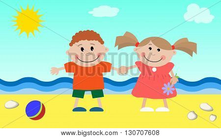 Children at the sea. Vector illustration. It can be used for the children's websites, magazines, packing and typographical production