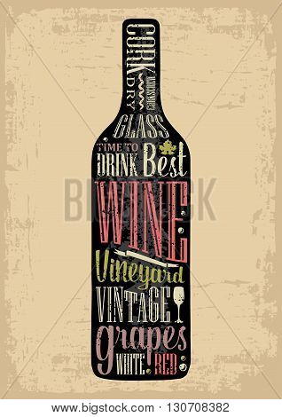 Typography poster lettering text in silhouette Wine bottle. Vintage vector engraving illustration. Advertising design for pub on beige background.