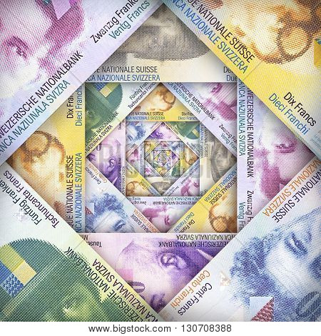 Swiss Franc bills creating a colorful background
