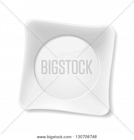 Illustration of empty white plate isolated on white background