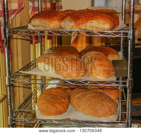 Loaves of fresh baked bread hot out of the oven.