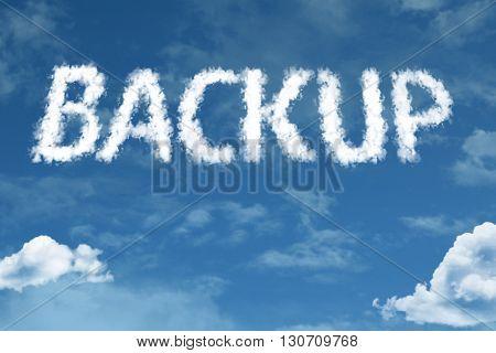 Backup cloud word with a blue sky