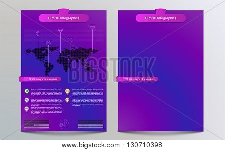 Colorful gradient brochure template with infographics. Infographic with dotted world map pointers timeline outline technology icons and banners / ribbons. Dotted world map infographics on flyer with icons and timeline pointers in modern style.