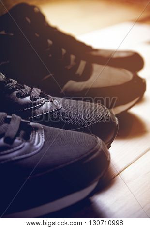 A pair of running shoes closeup. Black and white