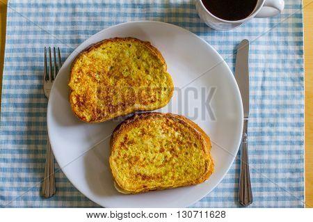 A hearty chocolate banana French toast breakfast.