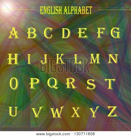 Learning english alphabet ,on the deep sea gradient with lens flare effect