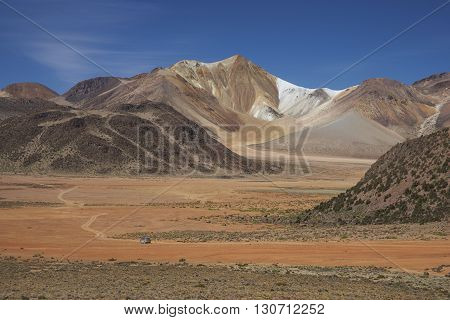 Colourful mountains at Suriplaza on the Altiplano of north east Chile close to Lauca National Park.