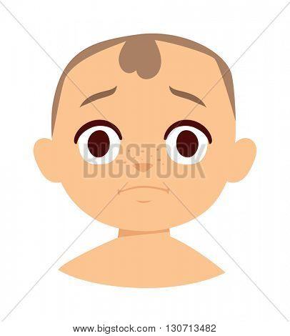 Sadness boy face vector illustration.
