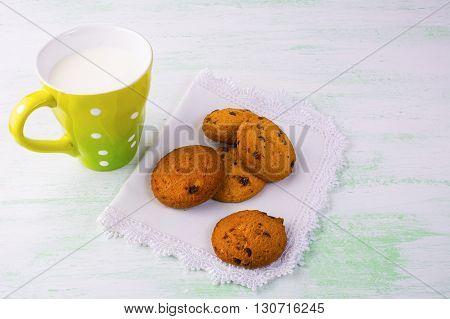 Milk and sweet cookies copy space. Breakfast cookies. Sweet dessert. Homemade cookies. Sweet pastry.