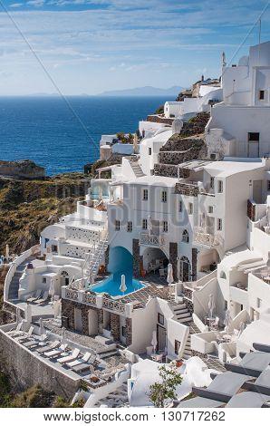 Cityscape of local hotel in Santorini island, Oia, Greece