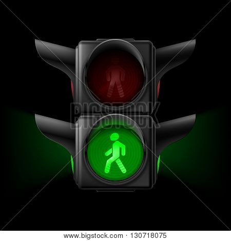 Realistic pedestrian traffic lights with green lamp on. Illustration on black background