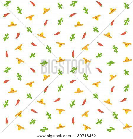 Mexican seamless pattern. Cactus sombrero hats and chili peppers. Simple cartoon flat vector illustration.