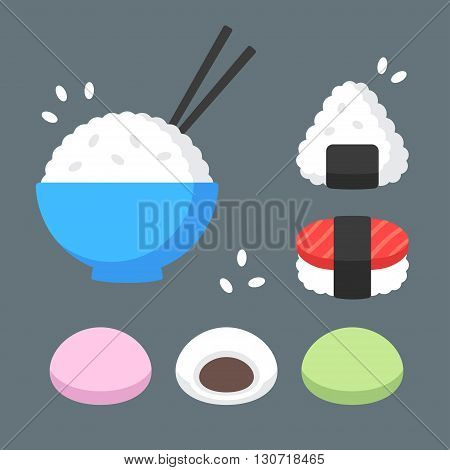Japanese food rice dishes icon set. Bowl of rice with chopsticks onigiri and sushi mochi rice cakes with red bean paste filling. Flat cartoon vector icons.
