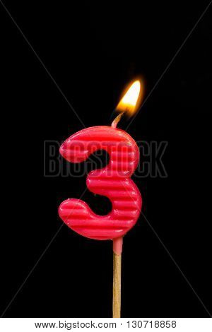 The Birthday anniversary candles showing Number. 3