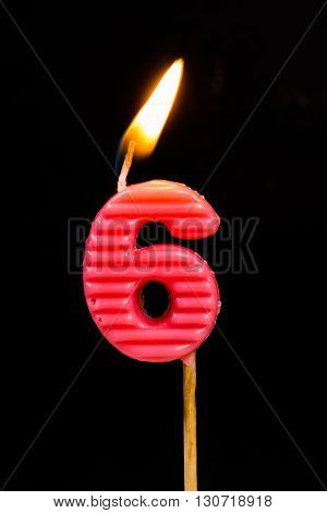 The Birthday anniversary candles showing Number. 6