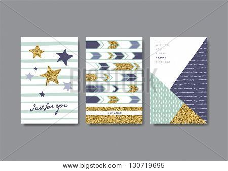 Set of greeting cards with golden glitter elements