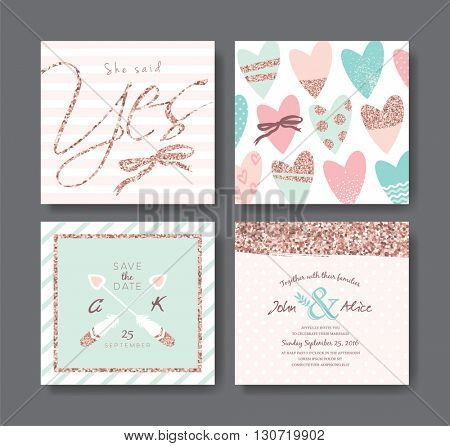 Set of wedding invitation card with rose gold glitter