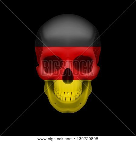 Human skull with flag of Germany. Threat to national security war or dying out