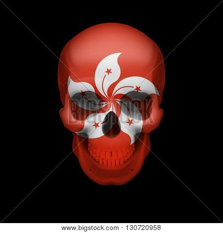 Human skull with flag of Hong Kong. Threat to national security war or dying out