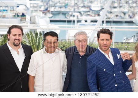 Jonathan Jakubowicz, Roberto Duran, Robert De Niro, Edgar Ramirez at the photocall for Hands Of Stone at the 69th Festival de Cannes. May 16, 2016  Cannes, France