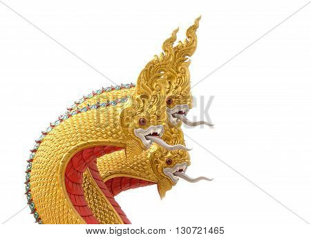 king of Nagas serpent statue isolated White background .