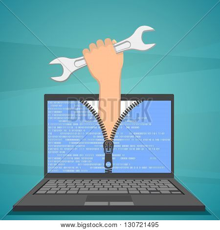 Human hand with a wrench sticking out of laptop. Technical support. Stock vector illustration.