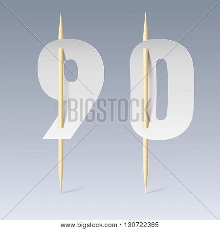 Illustration of white paper cut font on toothpicks on grey background. 9 and 0 numerals