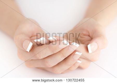 Elegant French Natural Manicure Protecting Holding Hands Empty
