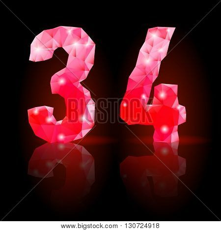Shiny ruby polygonal font with reflection on black background. Crystal style 3 and 4 numerals
