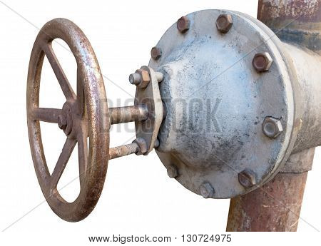 old metal pipe with valve on a white background