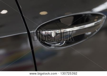 Door Handle Of New Black Car