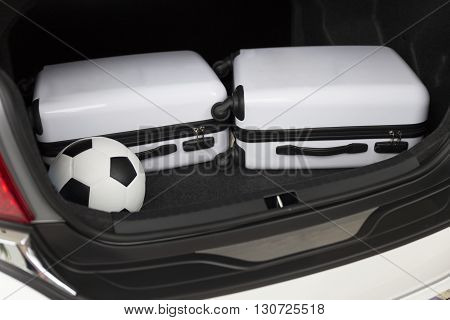 Baggage In Car Trunk For Traveling Concept