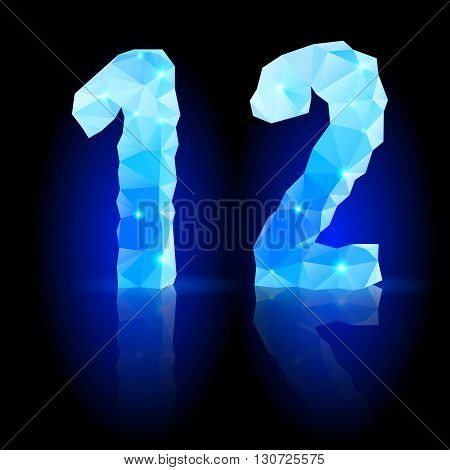 Shiny blue polygonal font with reflection on black background. Crystal style 1 and 2 numerals