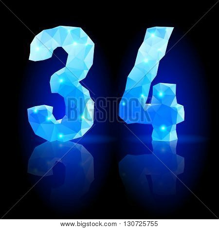 Shiny blue polygonal font with reflection on black background. Crystal style 3 and 4 numerals
