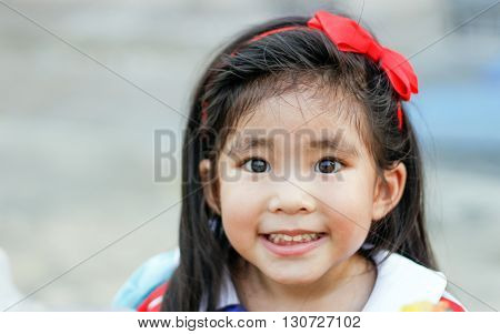 Face Of Long Hair With Red Headband Asian Thai Girl Funny Smile