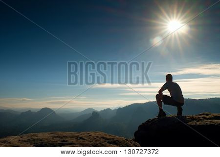 Freedom Hiker  Sit Upper The Misty Vlley And Enjoy Morning In Beautiful Nature