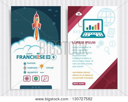 Project Franchise Concepts And Set Of Banners. Vector Illustration.
