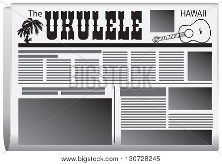 Newspaper The Ukulele State of Hawaii. Vector illustration.
