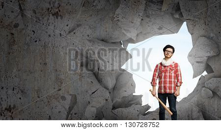 Hipster guy with bat