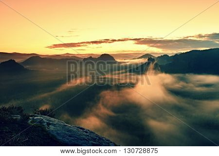 Warm Misty Autumn Land In Red Colorful Vapor. Rocky Gulch Full Of Heavy Fog. Sun Is Hidden In  Color