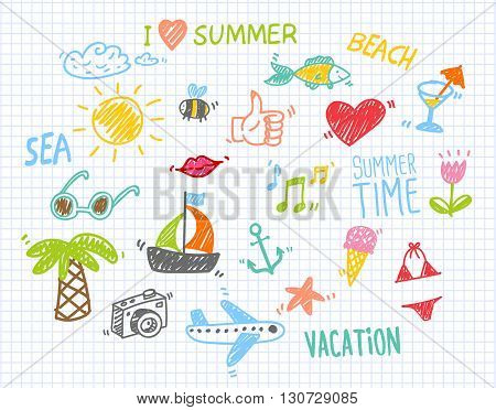Colorful sketches of summer things on notebook paper