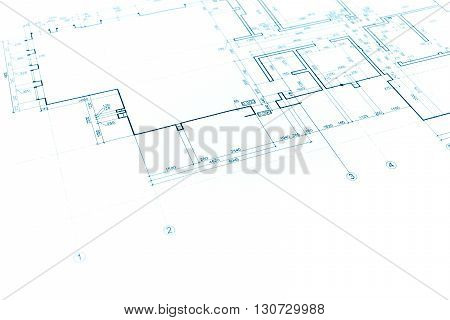 House Plan Blueprint, Technical Drawing, Part Of Architectural Project