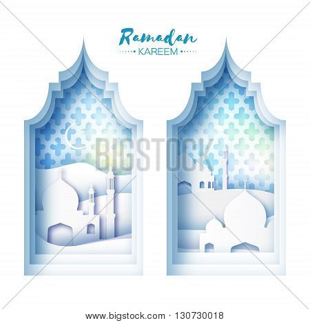 Blue White Origami Mosque Window Ramadan Kareem Greeting card with arabic arabesque pattern.Desert Landscape.Holy month of muslim.Symbol of Islam.Crescent Moon