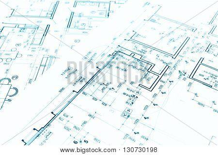 Architectural Background With Technical Drawings And Construction Plans